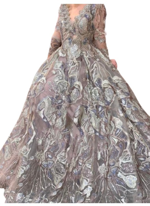 Mambo Couture Taupe Long Sleeve Embroidered Ballgown