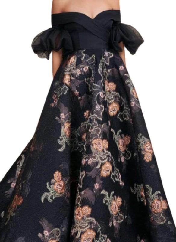 MNM Couture Black OTS Floral Ballgown