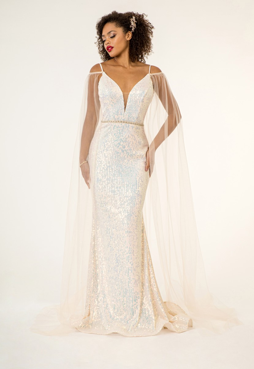 Champagne Sequin Gown with Cape by Elizabeth K - GL1955