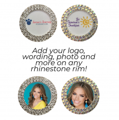 Double Row Custom Rhinestone Bling Magnet: Pageant Sports Photo Rhinestone Bottle Cap Name Tag Button Pin Magnet