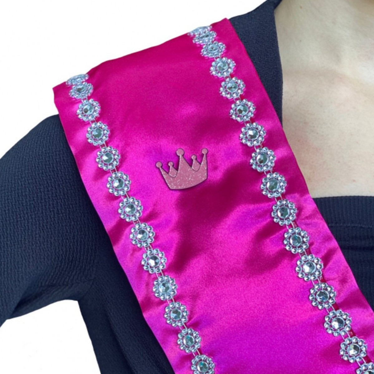 Wonder Queen: Magnet with Pink Glitter Crown for Pageant Contestant Numbers, Sashes, Name Tags; Super Strong Bling Magnet from The Queen's Magnet