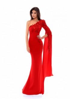 Floral Applique One Shoulder Gown by Tarik Ediz (Size 2)
