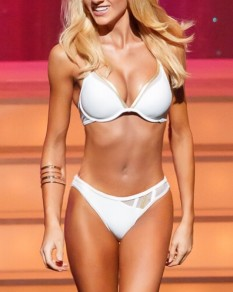 White & Gold Trim Pageant Swimsuit by Kandice Pelletier