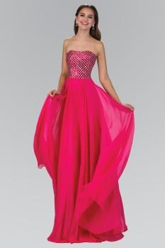 Elizabeth K - GL1146 Strapless Chiffon Floor Length Dress Accented with Jewel