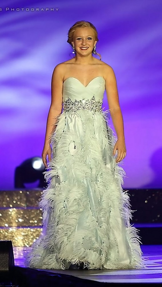 Light Blue Terani Feather Evening Gown