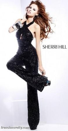 Sherri Hill Black Sequin Jumpsuit