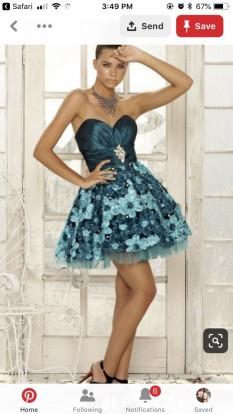 Blush Prom Blue Green floral cocktail dress
