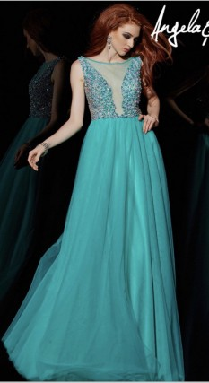 Angela and Allison illusion tulle Evening gown
