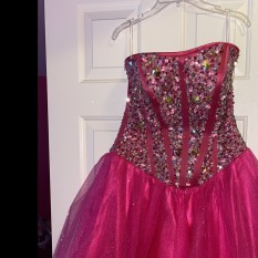 Pink Sparkly Corseted Dress by Hannah S