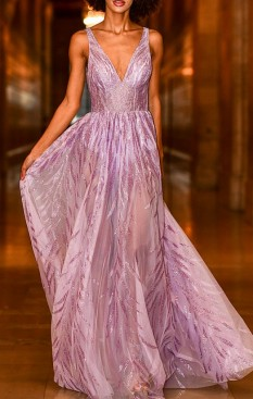 Jovani 06687 Lilac V Neck Maxi Couture Dress