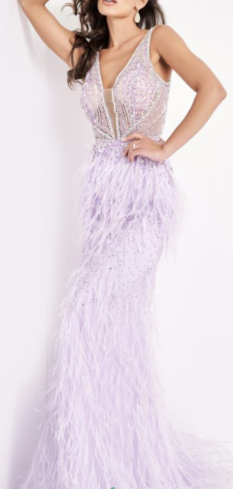 Jovani Lilac Feather Evening Gown